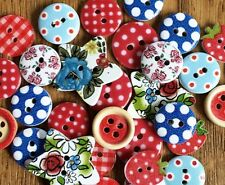 10 x Mixed British Summer Red White Blue Buttons GB Sewing Scrapbook Craft