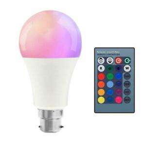 Remote Controlled 10w Watt  B22 LED Colour Changing Bayonet Fit Light Bulb