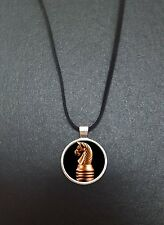 "Knight Chess Piece Pendant On a 18"" Black Cord Necklace Ideal Birthday Gift N335"