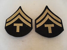 WWII PAIR US ARMY TECH CORPL CHEVRONS WOVEN SILVER ON BLACK TWILL
