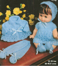 """VINTAGE KNITTING PATTERN  COPY - TO KNIT FOR 12-18"""" DOLLS - 7 PIECE OUTFIT"""