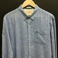 Mens Large PENGUIN Linen Cotton Heritage Slim Fit Shirt Blue -SUPERB- 16c
