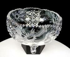 """BOHEMIAN CUT CRYSTAL THISTLE FLORAL ETCHED 3 TOED 6 5/8"""" SAWTOOTH RIM BOWL 1920"""