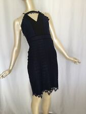 Harlyn Small Blue And Black Knee Length Pencil Cocktail Dress $172 NWT