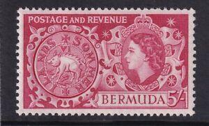 QEII Bermuda. 1953 issue unmounted mint (MNH) 5/- stamp. Very Fine.