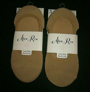 Womens Shoe Size 5-9 Anti Slip Heel Grip Mesh No Show Sock Liners 6 Pairs Beige