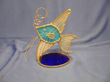 Hand crafted Angel Fish metal art piece marine life sea blue stain glass ocean