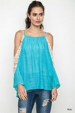 Umgee Cold Shoulder Crochet Sleeve Top LOOK VARIETY COLORS S, M, L XL, 1XL, 2XL