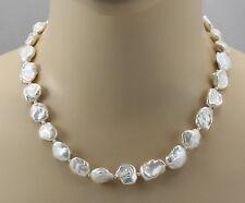 Weiße Perlenkette - große Keshi Zuchtperlen Halskette für Damen 48 cm
