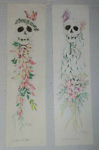 2 Manuel Unzueta Original Pencil Drawings Day Of The Dead Mexican Chicano Art