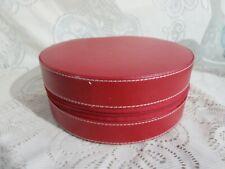 Prezerve Red Round Imitation Leather Jewelry Case