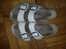 Birkenstock ARIZONA Birko Flor SANDAL White TWO Strap AUTHENTIC 0552681 used 40