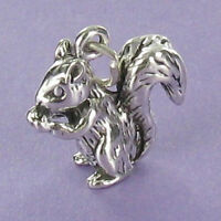 Squirrel Charm Sterling Silver for Bracelet Bushy Tail 3D Acorn Flying Rodent