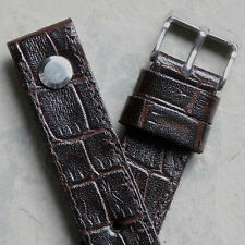 Matte brown Crocodile Grain Leather AVIATOR 18mm open ended watch band UK Made