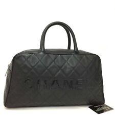 CHANEL Quilted Matelasse Logos Caviar Skin Bowling Hand Bag Black /q845