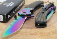 "7.75"" Snake Eye Rainbow Tactical Spring Assisted Opening Bowie Pocket Knife"
