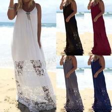 Women Summer Beach Long Maxi Dress Lace Crochet Ball Gown Shirt Dress Plus Size