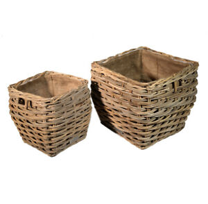 Rattan Hessian Lined Stumpy Log Storage Basket Large Or Small Square Home Gift