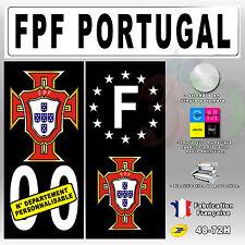 Stickers Plaque D'immatriculation Fond Noir Logo FPF Portugal 4 pièces 45x100 mm