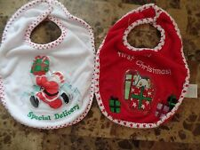 2 baby girls boys unisex CHIRSTMAS BIBS LOT first SPECIAL DELIVERY feeding