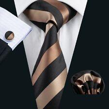New Men's Necktie Black Brown Strip Tie Set Hanky Cufflinks Wedding Tie C-585
