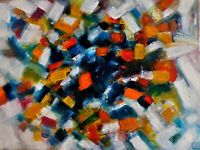 """Original Abstract Oil Painting, Signed, by Nalan Laluk, """"Uncubed"""""""
