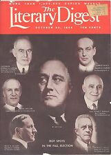 ORIG VINTG  THE LITERARY DIGEST OCT 20 1934 HOT SPOTS IN THE FALL ELECTION  RARE