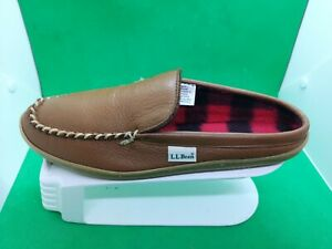 Ll Bean Wicked Good Scuffs Slipper Brown Leather Womens Size 10 M
