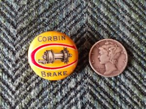 Whitehead & Hoag Circa 1915 CORBIN BRAKE Button Pin Pinback Early Bicycle