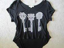WOMENS FOREVER 21 BLACK BLING 3 KEYS SHORT SLEEVE CUTE CROP TOP KNIT TOP SMALL