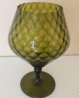 """Italian Mid Century Olive Green Optical Glass Diamond Weave Goblet Stem Vase 10"""""""