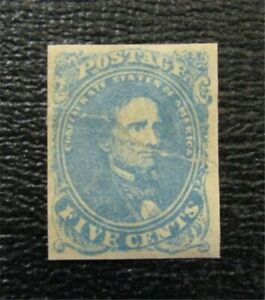 nystamps US CSA Confederate Stamp # 4 Mint OG H $250 Crease   A9x868