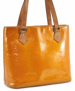 Authentic Louis Vuitton Vernis Houston Shoulder Bag Yellow LV C1950