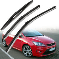 3x Windshield Windscreen Wiper Blades Set For Ford Focus MK2 1.6 Front & Rear