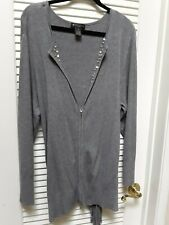 89th & Madison Gray Long Sleeve Zipper Cardigan Sweater Plus Size 3X 22/24