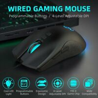 7 Programmable Key Ergonomic USB Wired Mouse RGB Backlit Mice 6400 DPI PC Laptop