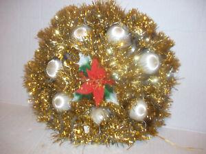 Vintage Christmas gold Tinsel satin Ornament plastic poinsettia Wreath Handmade