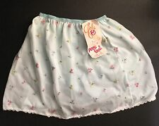 Vintage Girls Blue Petti-Pants Flowers Lace Nylon Large 14-16 Panty Brief