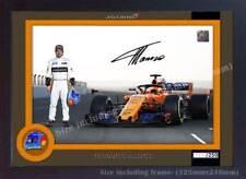 Fernando Alonso Fórmula 1 impresión foto Poster Enmarcado Firmado Autógrafo GP (MDF).