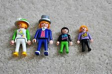 Vintage GEOBRA, 1974, Playmobil Family of Four Figures, Flower Hat