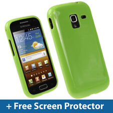 Green Glossy TPU Gel Case for Samsung Galaxy Ace 2 I8160 Android Skin Cover