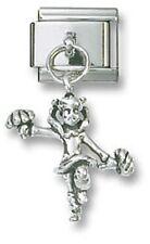 Italian Charm Dangle Cheerleader Sterling Silver 9 mm Stainless Steel Bracelet