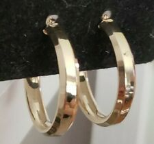 "14k Yellow Gold Polished Faceted Round Hoop Earrings, 1""L,  1.7 Grams"