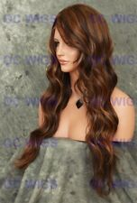 Brown Blonde Auburn Mix Long Curly Lace Front Heat OK Synthetic Wig WBLA 4/27/30