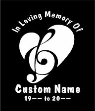 """Personalized """" In Loving Memory Of """" Decal Sticker  Music Heart Design"""