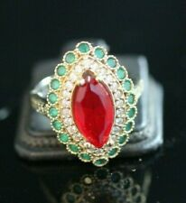 Turkish Handmade Sterling Silver 925 Jewelry Emerald Ruby  Ring  7 8 9