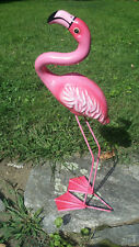 Paper Mache Pink Flamingo Hand Painted Art Mexican 20""
