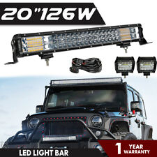 "20""INCH 126W LED LIGHT BAR SPOT FLOOD COMBO OFFROAD 4WD TRUCK ATV SUV+Wiring Kit"