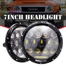 For FJ Cruiser 2007-2014 2x7'' Projector Round LED Headlight Combo Hi/Lo Beam