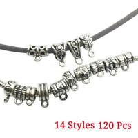 Pendant  120Pcs Holder Clasp DIY Connectors Tube Spacer beads Tibetan Silver